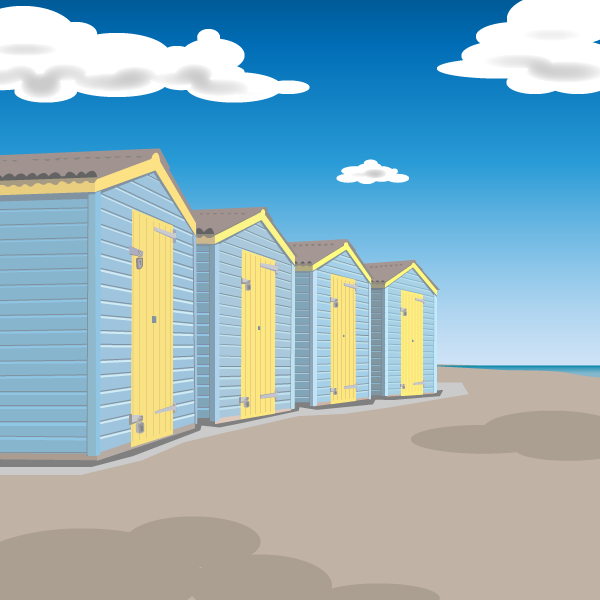 Beach huts Illustration by Brad